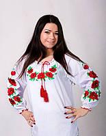 Вышитая блуза с маками до 52р
