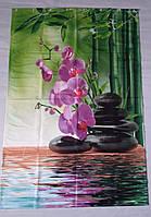 """ФотоШторка в ванную """"Орхидея и камни"""" 1,90м*1,15м (1 полотно), люверсы"""