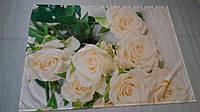 """ФотоШторка в ванную """"Белые розы"""" 1,33м*1,82м (1 полотно), люверсы"""