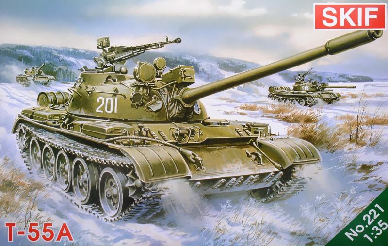 Т-55А Советский средний танк. Сборная модель в масштабе 1/35. SKIF MK221