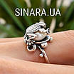 Серебряное кольцо Лягушка с жемчугом, фото 8