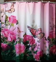 """ФотоШторка в ванную """"Розовые розы и бабочки"""" 1,39м*1,73м (1 полотно), люверсы"""