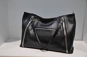 Женская кожаная сумка Assa, черная 0042-1085, фото 2