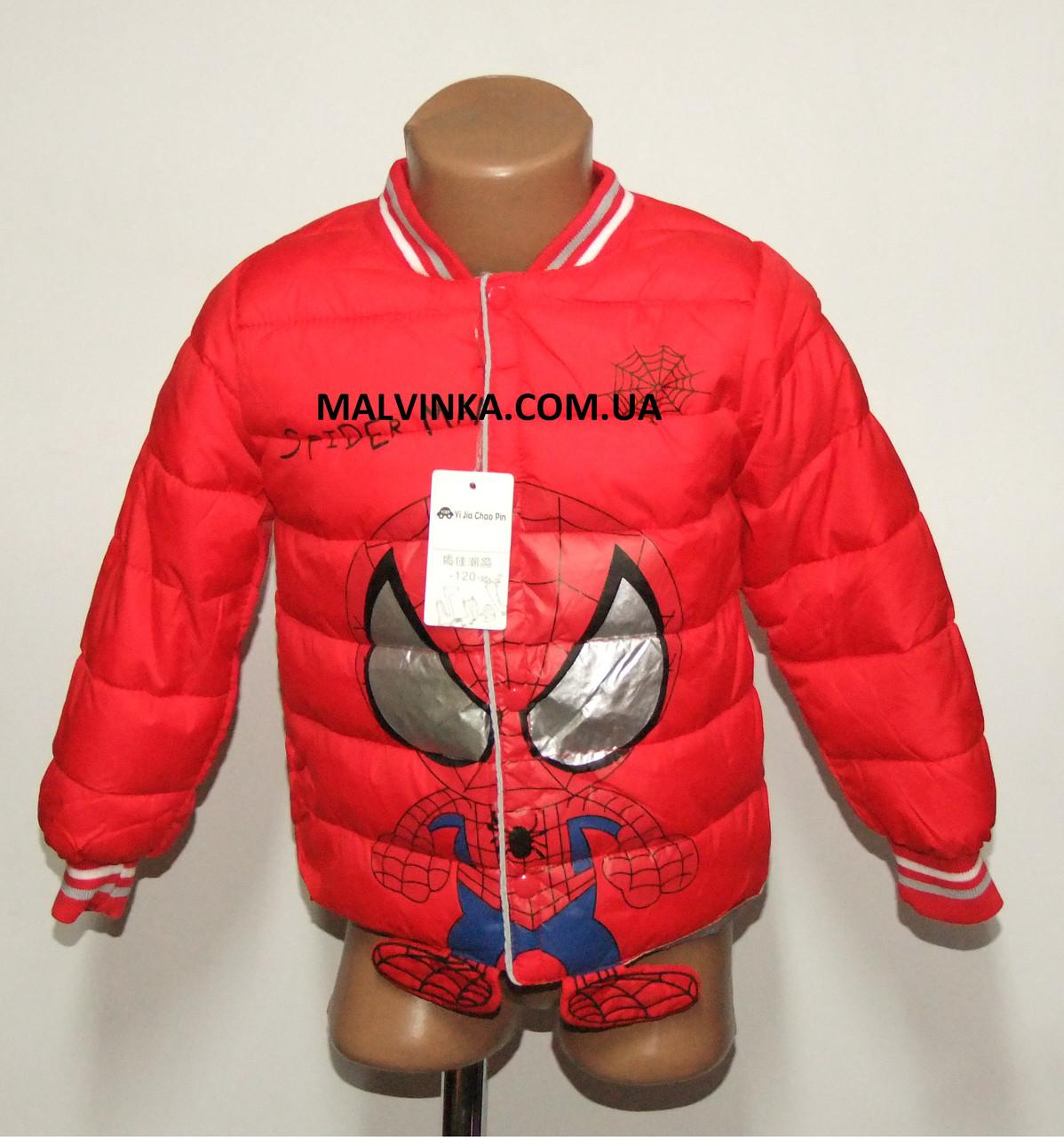 Куртка деми мальчика красная ЧЕЛОВЕК ПАУК на 98/104 рост  арт 8060.