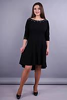Лейла. Женское праздничное платье больших размеров. Черный. 64