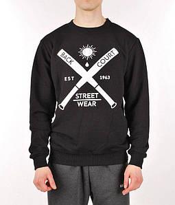 Мужская кофта cвитшот Backcourt - Streetwear Black (толстовка, чоловіча кофта)