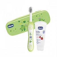 Набор зубная щетка и паста Chicco (07533.00) с чехлом, зеленый