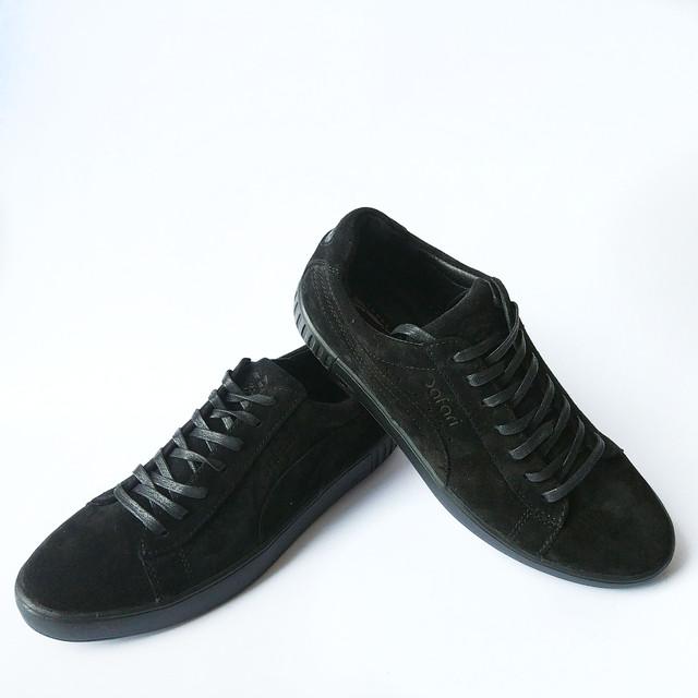 Качественная мужская обувь Safari черного цвета замшевые спортивные кеды