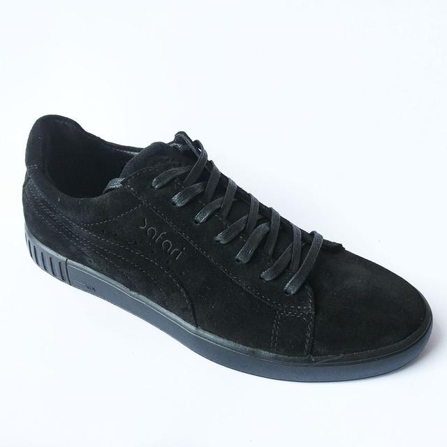 Качественная мужская обувь Safari спортивные кеды черного цвета замшевые
