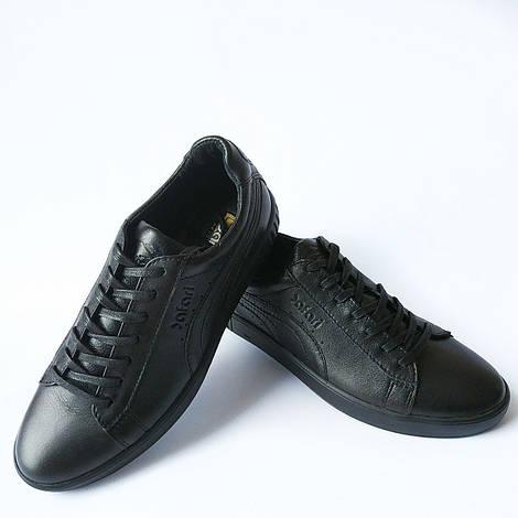 Мужская кожаная обувь : кроссовки черного цвета фабрики Safari