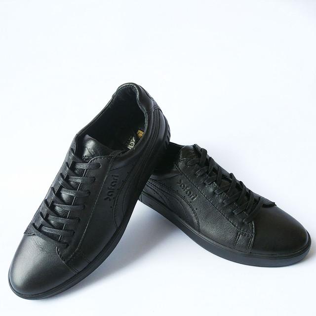 Прочная мужская кожаная обувь спортивного стиля черные кроссовки на шнуровке