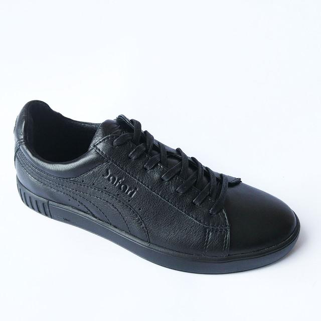 Прочная мужская кожаная обувь черные кроссовки на шнуровке спортивного стиля
