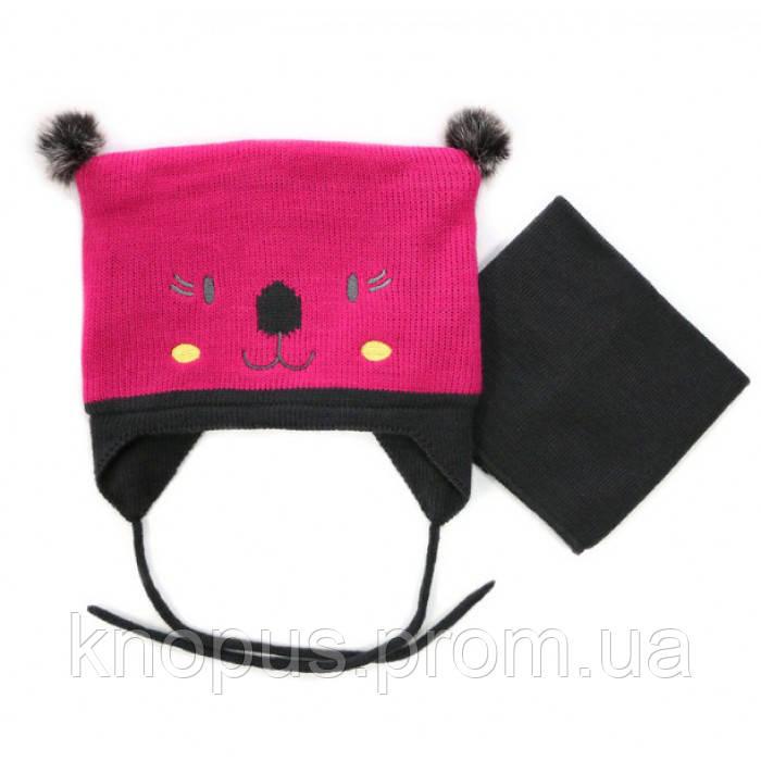 Шапка зимняя с манишкой для девочки,  40 BF ACC F16 Hot Pink/Rose Gum, NANO (PELUCHE & TARTINE )