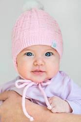 Зимняя полушерстяная шапочка с флисовой подкладкой для новорожденной девочки( розовая /белая), Модный карапуз