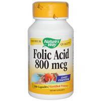 Фолиевая кислота, Nature's Way,  800 мкг, 100 капсул