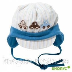 """Шапочка с козырьком хлопковая для малыша с аппликациями  """"Шумахер"""", Jamiks, Польша, 42 см.Приятная на ощупь хл"""
