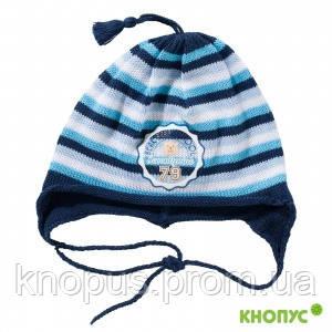 Детская вязаная шапочка на завязках, в полоску, с аппликацией, Jamiks, Польша, 44 см