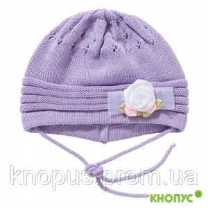 Вязаная шапочка для малышки с завязочками, сиреневая,  Jamiks, Польша, 40 см
