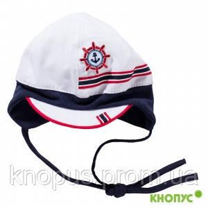 Панама-кепка для малыша на завязках, бело-синяя, с аппликацией , Jamiks, 38см, 40 см.