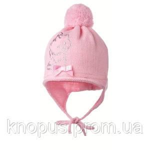 Зимняя детская шапка на флисовой подкладке, розовая, Jamiks (Польша), 40 см