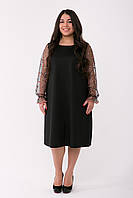 Нарядное платье больших размеров с сеткой-вышивкой Джоан