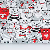 Ткань хлопковая с красными и серыми котами, №1172