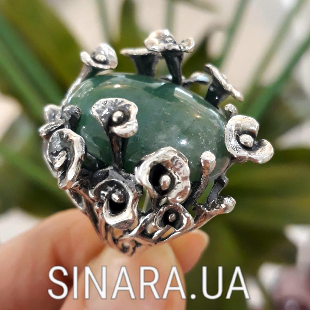 Эксклюзивное серебряное кольцо с зеленым авантюрином - Кольцо с зеленым камнем