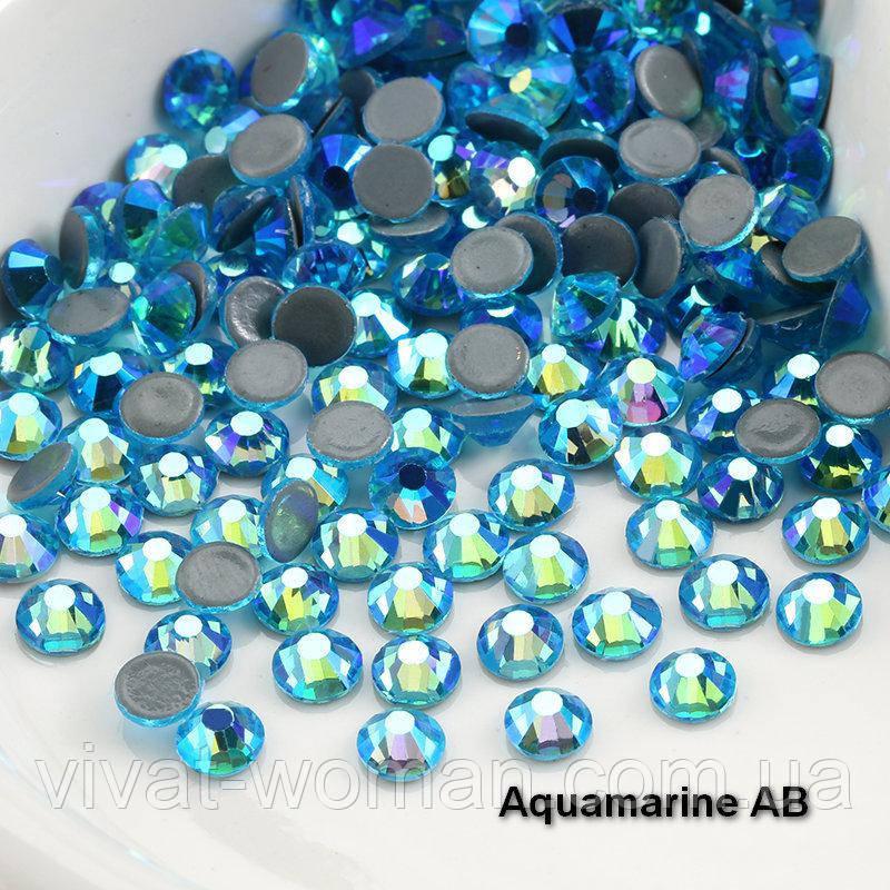 Стразы А+ премиум, Aquamarine АВ (бирюза) SS16 (4,0 мм) термоклеевые. Цена за 144 шт.