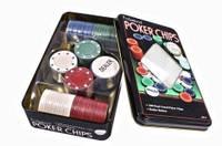 Набор для игры в покер в оловянной коробке (100 фишек)