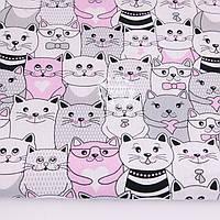 Ткань бязь с розовыми и серыми котами, № 1173