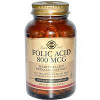 Фолиевая кислота, Solgar,  800 мкг, 250 капсул