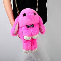 Детская сумка рюкзак кролик из натурального меха