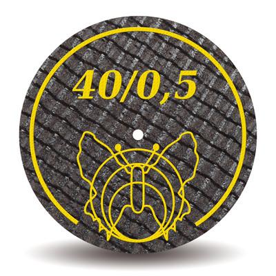 Отрезной диск армированный стекловолокном 40х0,5 мм (Motyl, Мотыль, Бабочка), 1шт.