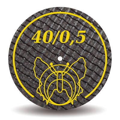 Отрезные диски армированные стекловолокном 40х0,5 мм (Motyl, Мотыль, Бабочка)