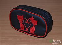 """Косметичка женская Glory Cases с вышивкой """"кошки красные"""""""