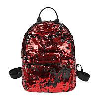Рюкзак женский c пайетками (красный), фото 1