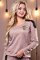 Персиковый женский свитшот 2504 Seventeen 42-48 размеры