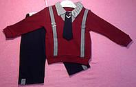 Костюм — интерлок 7-9-12 мес. Детский костюмчик Штаны и свитер с подтяжками