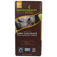 Endangered Species Chocolate, Натуральный черный шоколад с фундуком, ирис, 3 унции (85 г)