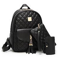 Набор женский стеганый - рюкзак, сумочка, визитница, брелок мишка (черный), фото 1