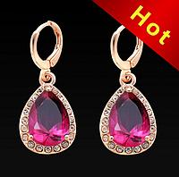 """Серьги-подвески """"Розовые капли в алмазах"""", фото 1"""