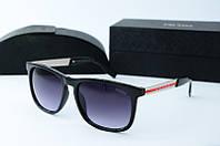 Солнцезащитные очки прямоугольные Prada черные глянцевые, фото 1