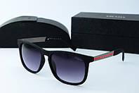 Солнцезащитные очки прямоугольные Prada черные матовые