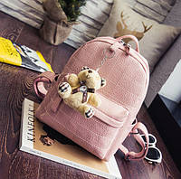 Рюкзак женский со строчкой и брелком мишкой (розовый), фото 1
