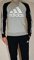 Спортивный костюм подросток Adidas, свитшот и штаны на манжете, трикотаж - серо-черный