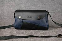 Кожаная женская сумка Kiki   Графит-Синий, фото 1