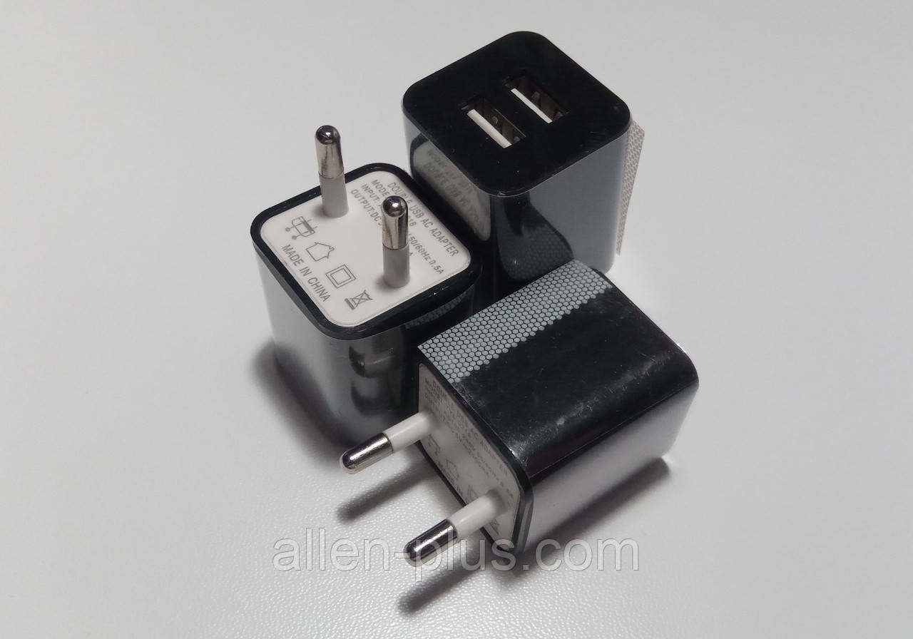 Адаптер питания TYL-0218, 220V-5V/2A, USBх2 ADAPTER (500mAh по факту)
