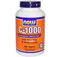 Витамин C-1000, Now Foods,  с плодами шиповника и биофлавоноидами, 250 таблеток