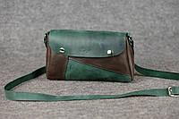 Кожаная женская сумка Kiki | Изумруд-Кофе