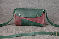 Кожаная женская сумка Kiki | Изумруд-Бордо